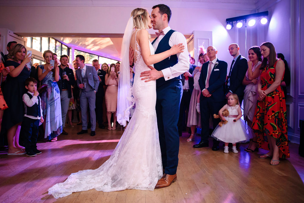 Bride & groom's first dance at West Tower at their spring wedding