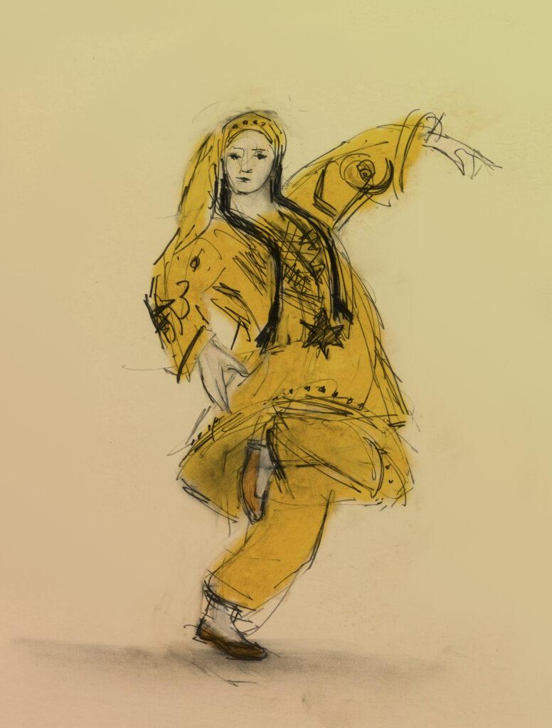 Aver Lezginka Dancers drawn by Julian Williams