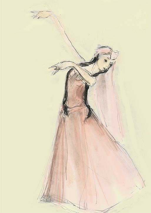 Lezginka dancer in pink  by Julian Williams