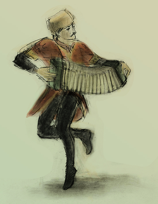 lezginka dancer coloured by Julian Williams