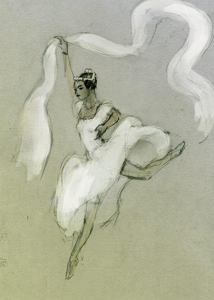 La Sylphide - Aurelie Dupont - Paria Opera - drawing by Julian Williams