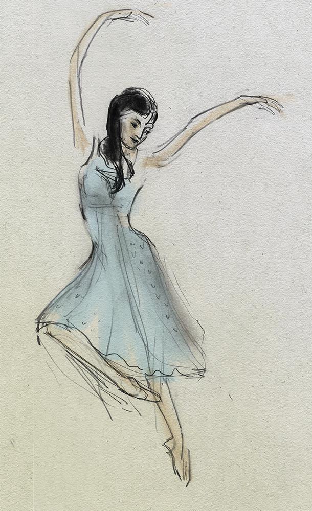 Cinderella danced by Anna Tsygankova, drawing by Julian Williams