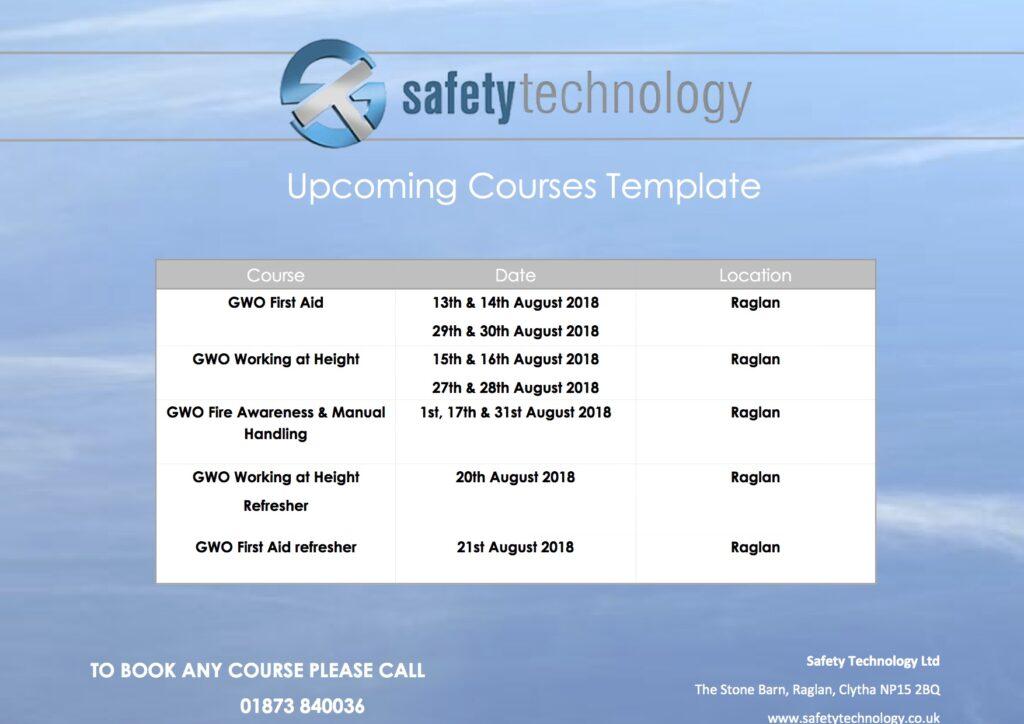 August 2018 training dates Raglan