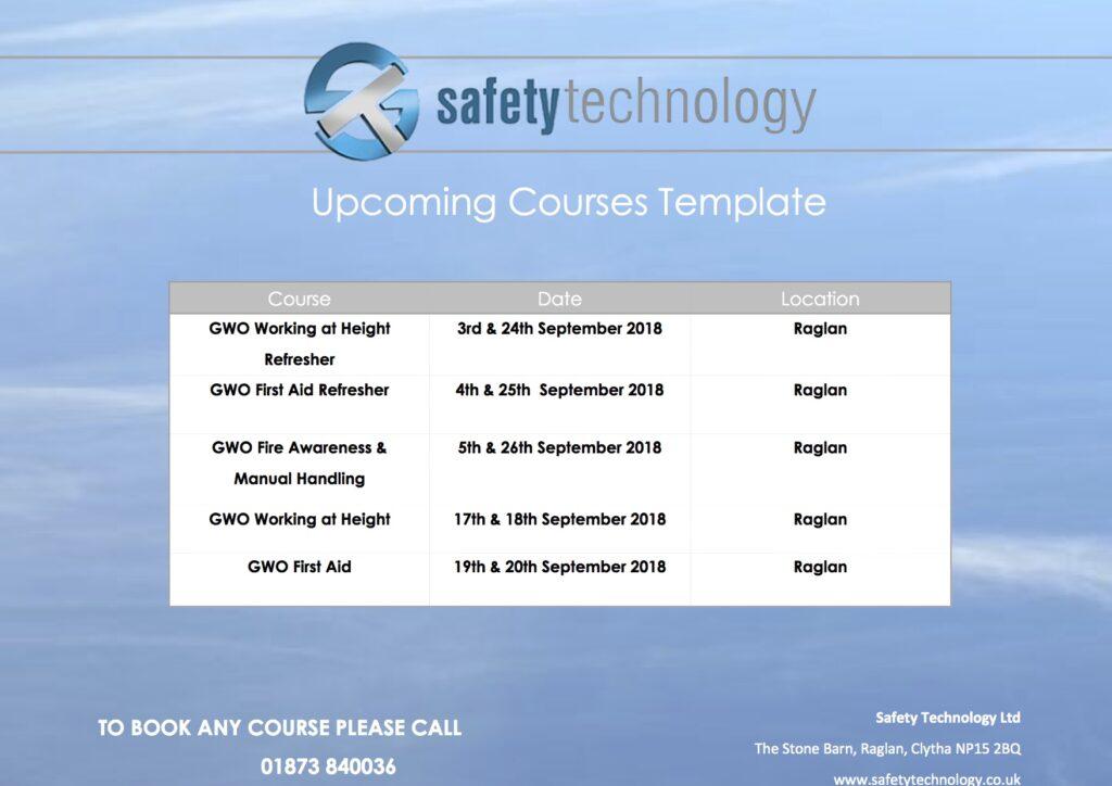 September 2018 training dates Raglan
