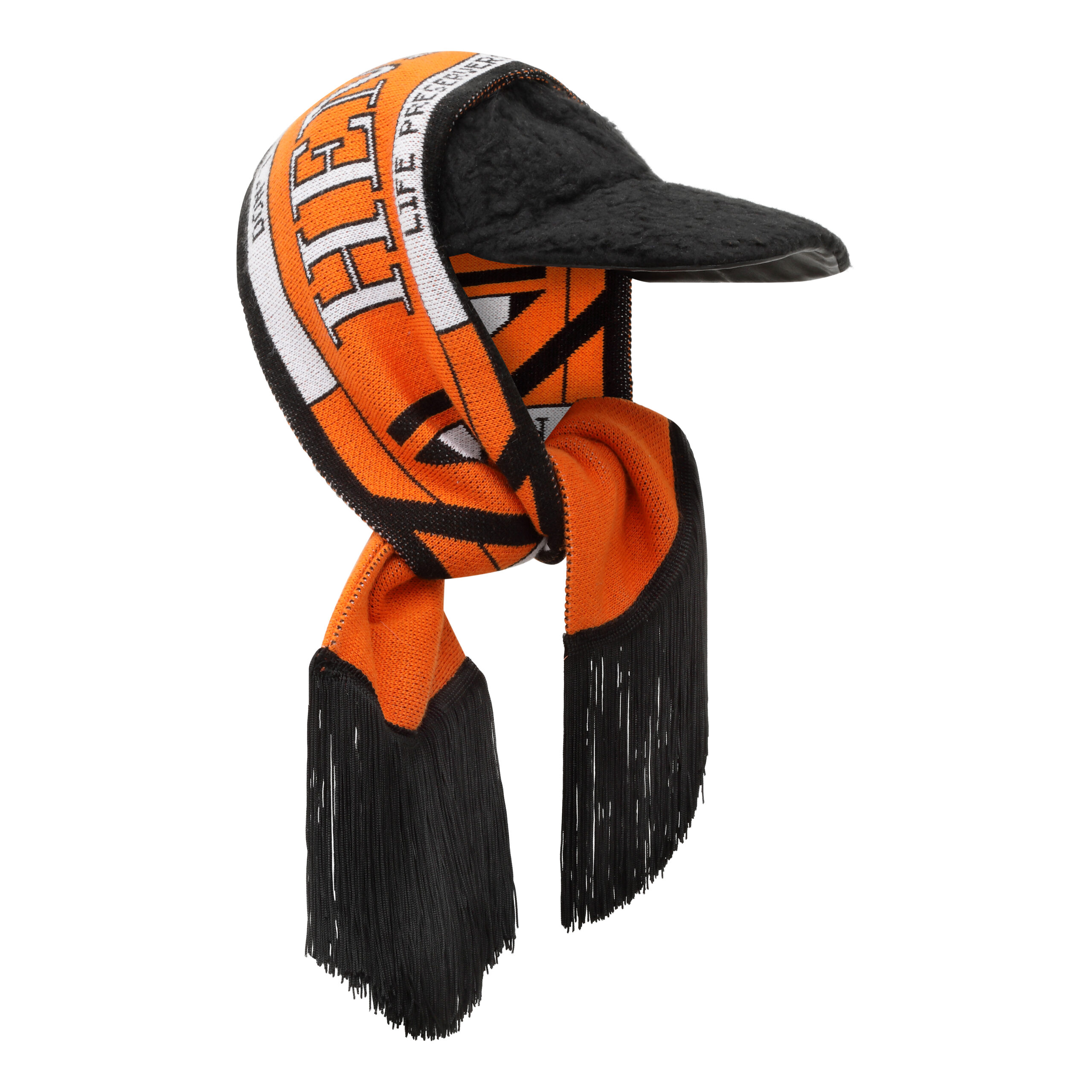 Oversized Cap with Detachable Scarf
