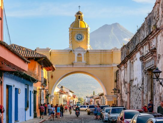 The Santa Catalina Arch is one of the distinguishable landmarks in Antigua Guatemala, Guatemala, located on 5th Avenue North.[1] Built in the 17th century, it originally connected the Santa Catalina convent to a school, allowing the cloistered nuns to pass from one building to the other without going out on the street. A clock on top was added in the era of the Central American Federation, in the 1830s. Source: https://en.wikipedia.org/wiki/Arco_de_Santa_Catalina