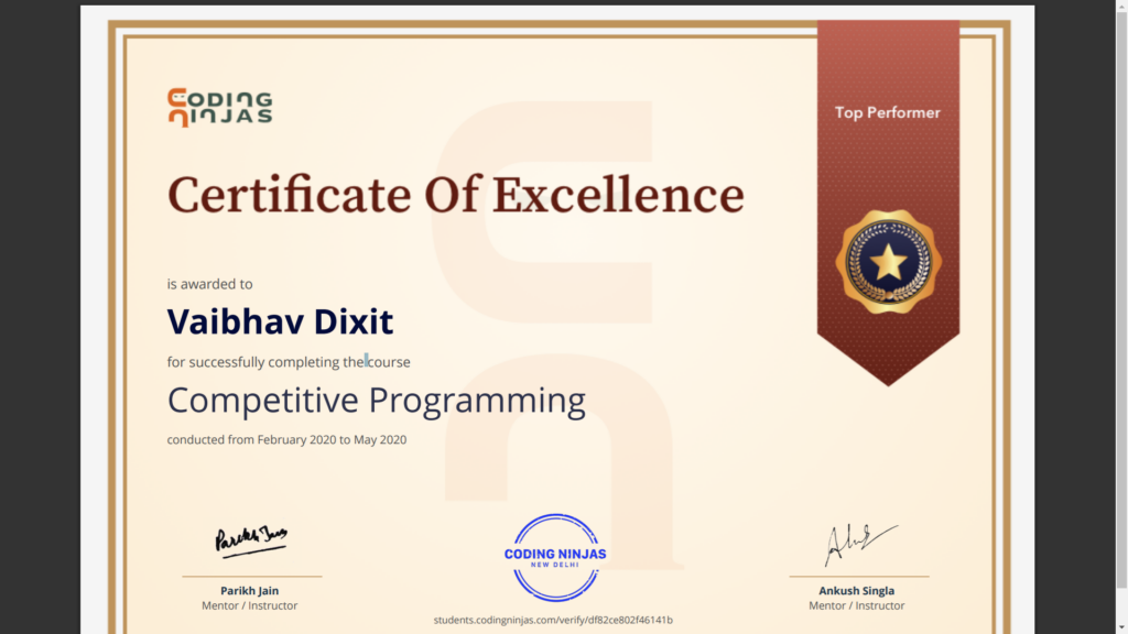 coding ninjas competitive programming certificate