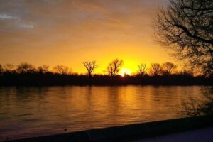 sunset over the river at thames crescent