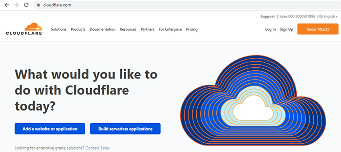 cloudflare home page