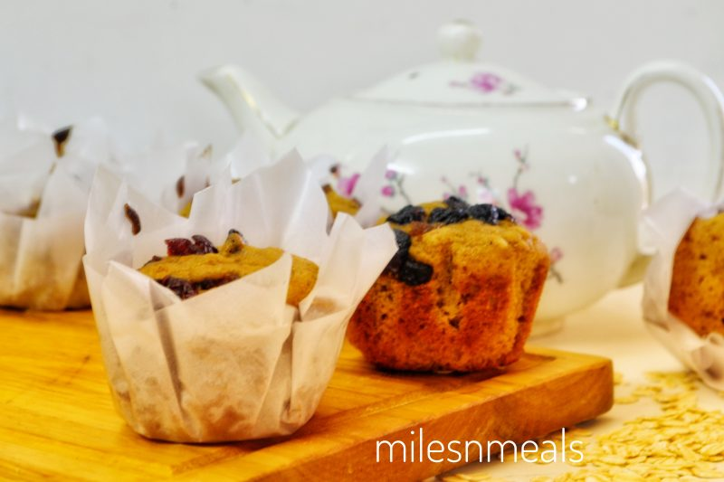 Spiced Pumpkin Whole Wheat and Jaggery Muffin with Oats and Berries