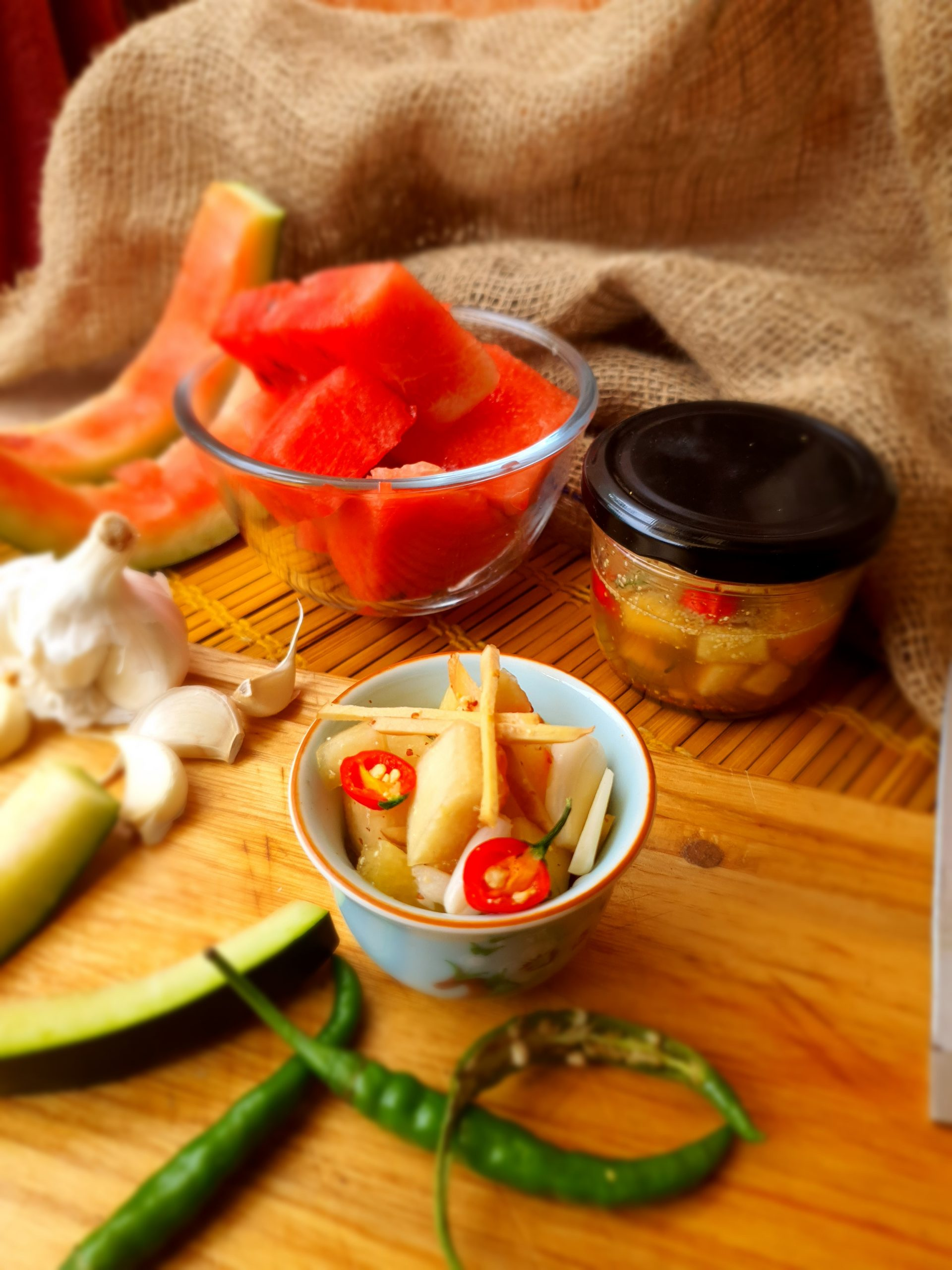 Pickled watermelon peel …Zero oil watermelon peel pickle…..