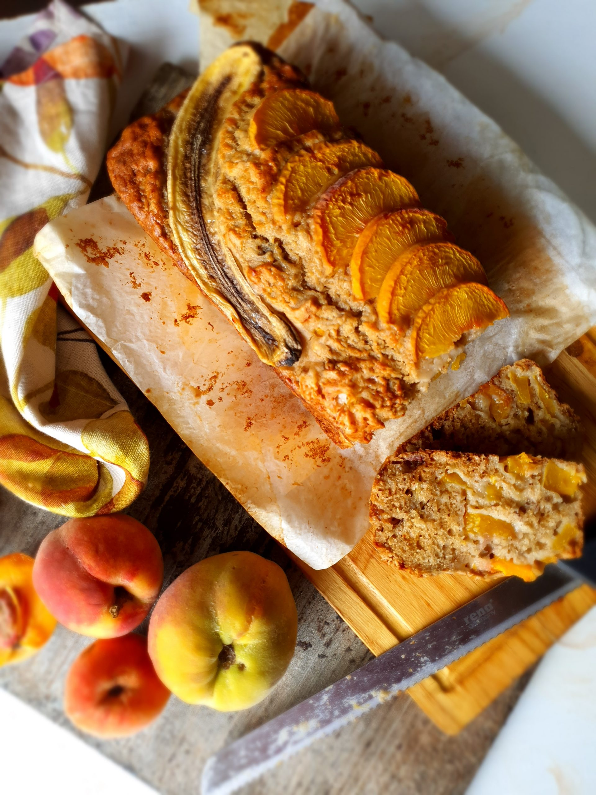 Peach and yogurt banana bread