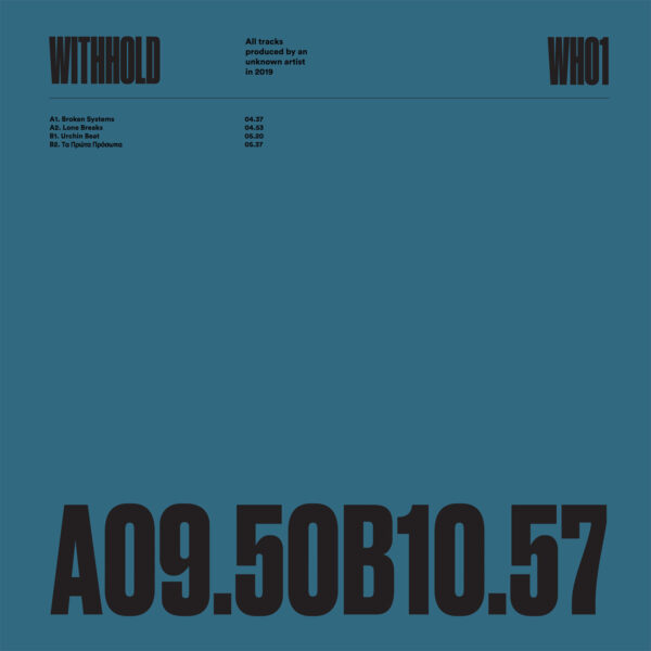 "Unknown Artist - WH01 - 12"" Black vinyl (WITHHOLD01)"