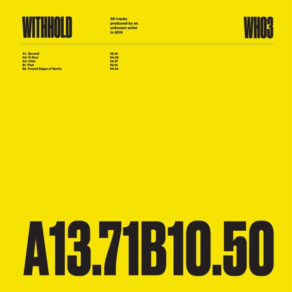 "Unknown Artist - WH03 - 12"" Black vinyl (WITHHOLD03)"