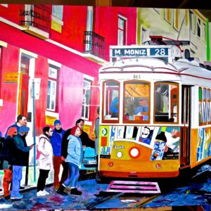 Getting on the Tram in Lisbon