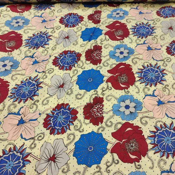 Cotton Lawn Oriental Flowers Blue