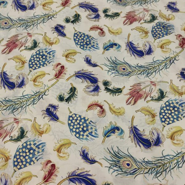 Cotton Lawn Peacock Feathers Ivory