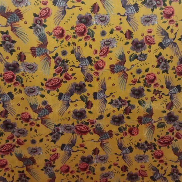 Velvet Fabric Stork Mustard