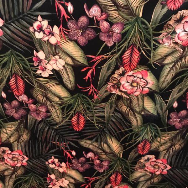Velvet Fabric Tropical Midnight
