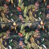 Velvet Fabric Wild Life Black