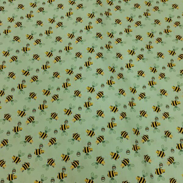 Cotton Poplin Bumble Bee Mint