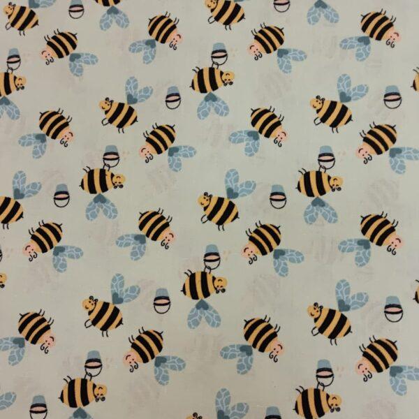 Cotton Poplin Bumble Bee Pale Grey