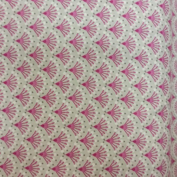 Cotton Poplin Japanese Fan Lilac and Pink