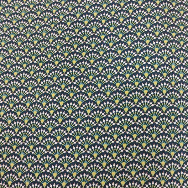 Cotton Poplin Japanese Fan Parrot Green