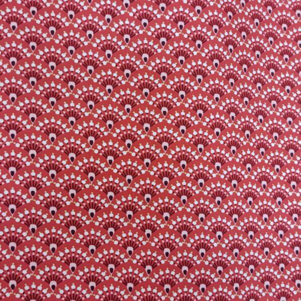 Cotton Poplin Japanese Fan Red Pink