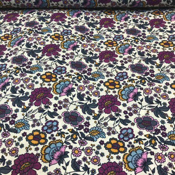 Cotton Poplin Flowers Bed Cream
