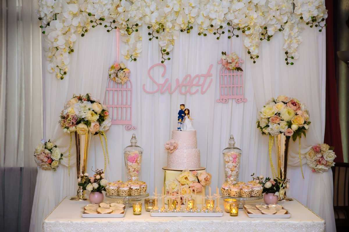 wedding cake bar with sweets