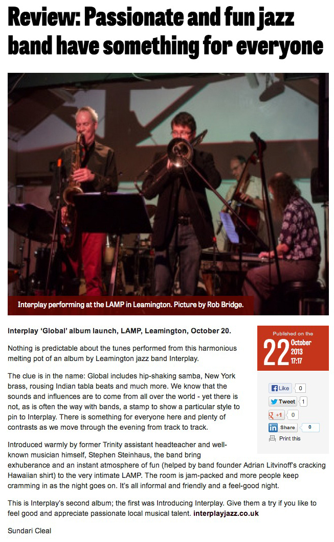 Review Passionate and fun jazz band have something for everyone - Leamington Courier