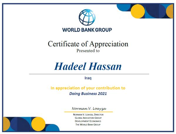 Mrs Al Hadeel Al Hasan receives the World Bank Certificate of Appreciation WB-Certificate-600x456