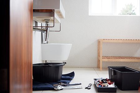 Plumbing Tools In Bathroom Ready To Repair Leaking Sink