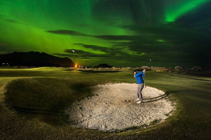 Playing Golf under the Northern lights