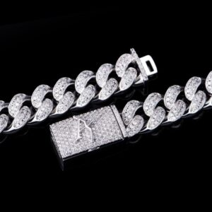12mm White Gold Box Clasp Cuban Link Chain