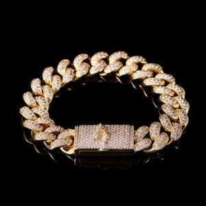 14k Gold 12mm Aporro A® Box Clasp Cuban Link Bracelet