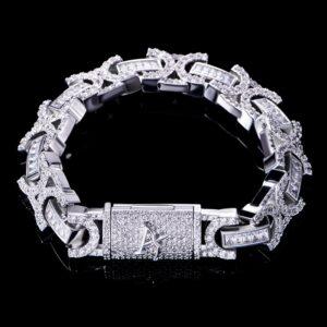 12mm Iced Box Clasp Byzantine Bracelet