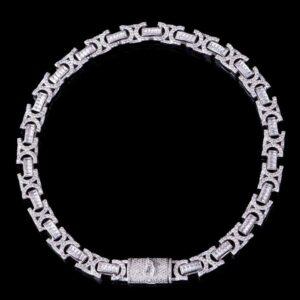 12mm Iced Box Clasp Byzantine Chain
