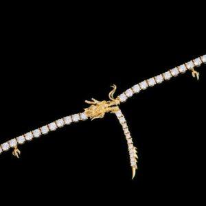 14K Gold Chinese Dragon Tennis Chain