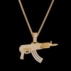 14k Gold Iced AK47 Pendant