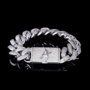 19mm Aporro White Gold Box Clasp Cuban Link Bracelet