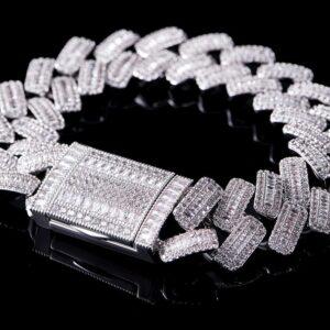 19mm Baguette Pave Prong Cuban Link Bracelet
