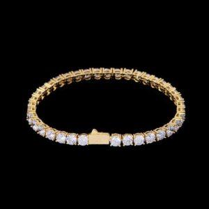 5mm Iced 14k Gold Tennis Bracelet