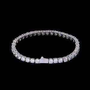 5mm Iced White Gold Tennis Bracelet