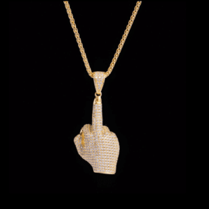 14K Gold Iced Middle Finger Necklace