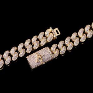 12mm Gold Box Clasp Cuban Link Chain