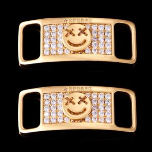 Aporro Iced Smile Emoji Lace Lock 18k Gold