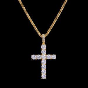 Iced Tennis Cross Pendant