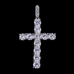 Iced Tennis Cross Pendant White gold
